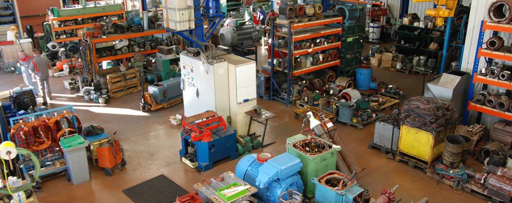 Atelier de maintenance moteur électrique, pompe, ventilation